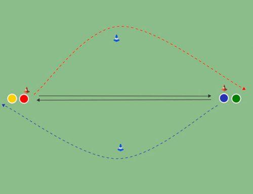 Pases frontales + sprint con cambio de dirección